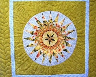 Wall quilt table topper compass design
