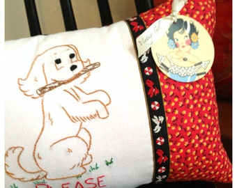 Please Play with the Puppy Pillow made with Vintage Tea Towel and Vintage Fabric and Trim