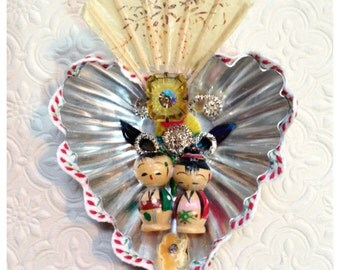 Sacred Heart Vintage Kokeshi Doll Love Shrine Perfect for Valentine's Day