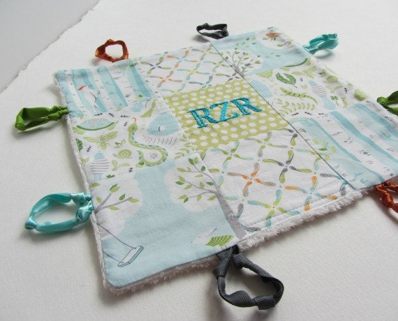 Baby Lovey with Name Or Initial Custom Hand Embroidered ~ Choice of Fabric Backing ~Aqua Teal Green White~Backyard Baby~Monogram ~Baby Gift