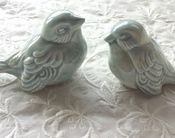 Wedding Cake Topper  Love Birds Wedding Favors Ceramic Birds Celedon Home Decor
