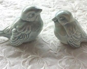 Wedding Cake Topper  Love Birds Wedding Favors Ceramic Birds Celedon Home Decor