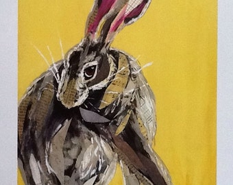 Coy Hare on Yellow Limited Edition Print from Original Painting Collage