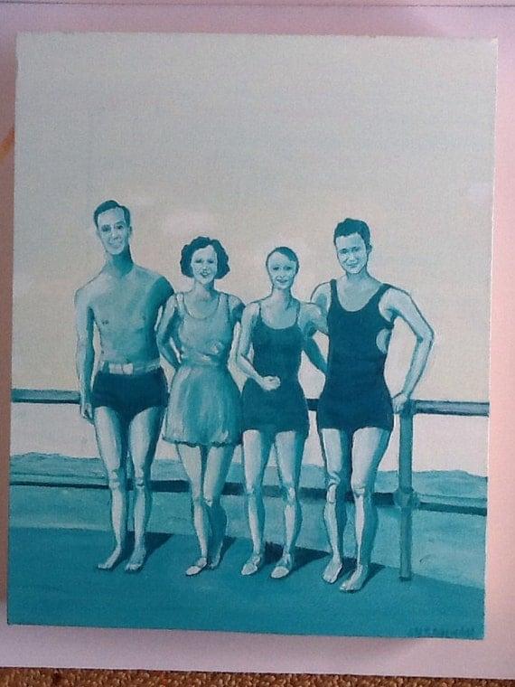 Va Beach 1934 Vintage Monochromatic Oil Painting