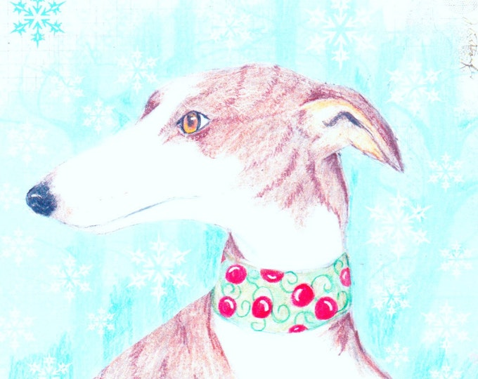 Greyhound Whippet Holiday card b;ank