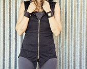 Pacha Play Long Hooded Vest -Pin Stripe -Antique Gold Double Zip