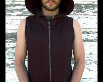 Pacha PLay Mens Black  Hooded Vest with color detail unique stitched design with pockets-techno-tribal-ninja-psytrance-festival-urban jedi-