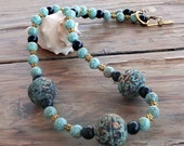 Dyed Turquoise Color Magnesite and Large Round Carved Clay Beads Necklace 18 Inches