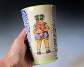Ceramic Dog Boy Tumbler / Vase - Carved flowers