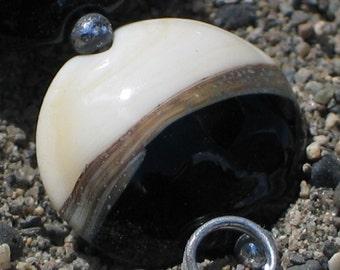 Handmade Glass Lampwork Beads, Black/Ivory Lentil
