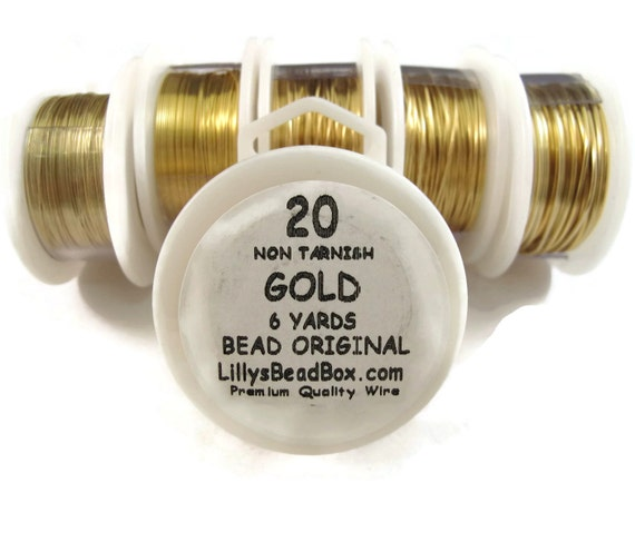 Gold Plated Wire - 20 Gauge Round Wire for Making Jewlery, Non Tarnish Wire, Wire Wrapping Supplies