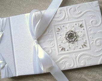 Wedding Guest Book Beaded White Embossed Paper with Handstitched Pearls & Silver Beads - Firenze