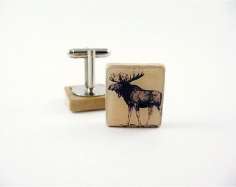 Wedding Cufflinks, Moose Caribou, wood cufflinks, groom gift, best man gift, groomsmen gift, animal cufflinks, woodland animals