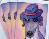4 x greyhound whippet dog greeting cards - wearing trilby hat