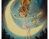 Mother Nature: Hanging with the Moon - Sugar Skull Bird - Pop Surrealism Fine Art Print - by Heather Renaux-unframed