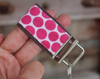 READY To Ship-MINI MINI Keychain-Hot Pink Dots on Gray