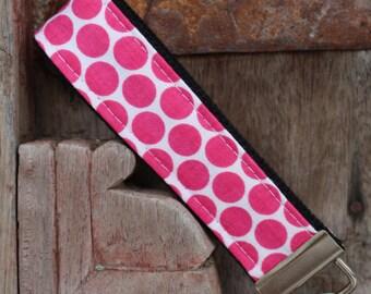 Wrist Key Chain--Wristlet--Key Chain--Hot Pink Dots on Black