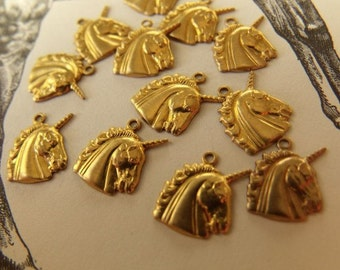 Unicorn Tiny Profile Brass Charms 12X10mm 12 Pcs