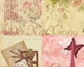 Buy 1 Get 1 FREE  French Chic - Shabby Rose - Digital Collage - Antique Images - INSTANT Download