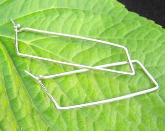 Rectangle hoop sterling silver rectangular hoop earrings geometric jewelry