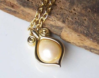 Vintage OLCI Necklace, Gold Plated Necklace, Large Pearl Pendant, Big Pearl Necklace, Opera Length, Etsy, Etsy Jewelry, Vintage Necklace,