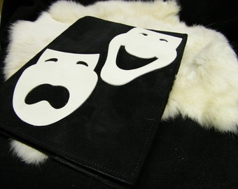 Black Suede Book Journal Cover Comedy & Tragedy Leather Mask on Cover Measures (9.5 x 7.5) inches