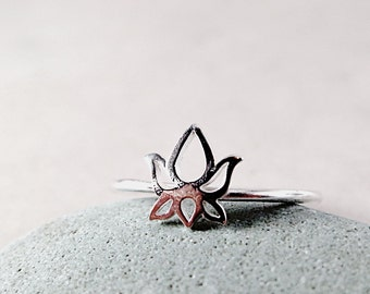 Lotus flower ring, Sterling Silver, stacking ring,  Nature inspired jewelry