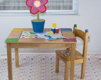 "Splat Mat/Tablecloth ""Girls Letters"" - Laminated Cotton BPA  & PVC Free - Choose Your Size below!"