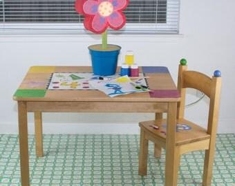 "Splat Mat/Tablecloth ""Turquoise Paisley Dots"" - Laminated Cotton BPA  & PVC Free - Choose Your Size below!"