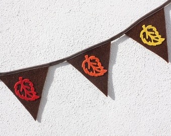 Leaf Bunting - Autumn Bunting - Mini Bunting - Brown Bunting - Party banner
