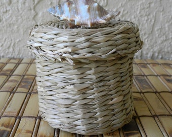 Covered Basket, Seagrass Basket with cover embellished with seashell, bathroom storage,