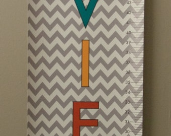 Personalized Vinyl Gray Chevron Growth Chart