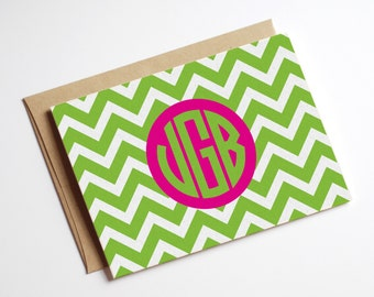 Instant Digital Download Printable DIY Pink and Green Monogram Chevron Folded Notecards