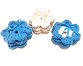 Lot Of Nine Itty Bitty Hot Blue And Ecru Colored Crocheted Make-Up Removers
