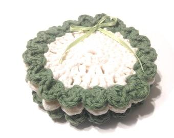 Sage Green And Soft Ecru Crocheted Face Scrubbies-Trio