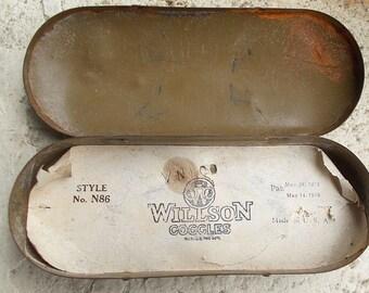 Antique Willson Goggles Case, Steampunk Glasses Case, Vintage Willson Case, Steampunk, Steampunk Goggles, Willson