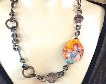 Chain necklace ,  Statement Jewelry, Vintage tin Necklace, Country & Western, Copper Necklace, Art jewelry, OOAK, Found Object Necklace,