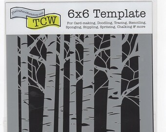 STENCIL - ASPEN Trees 6x6 inch - use in Mixed Media, Fiber Arts, Texturing Backgrounds Scrapbooking