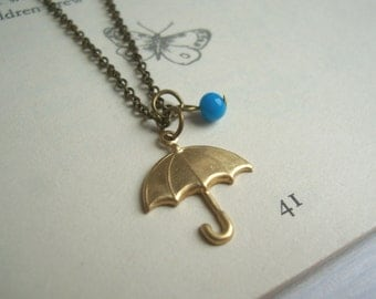 Rainy Day umbrella charm necklace - gold brolly and blue glass rain drop - handmade