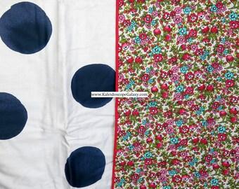 Flower Garden Duvet Cover Reverses To Beige And Blue Polka