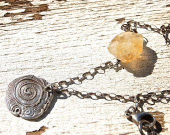 Silver Spiral Necklace Talisman Mandala Citrine Chunk snail Totem rustic necklace sunny spring necklace
