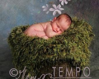 Green Moss Baby Blanket Newborn Photo Prop Blanket Looks Like Moss Photography Prop