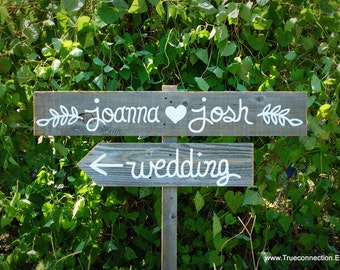 Leaf Wedding Sign, Rustic Outdoor Wedding, Vintage Wedding Decor Hand Painted Reclaimed Wood. Directional Signs, Arrow Sign. Olive Branch