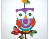 Owl wall decor crochet pattern tutorial-  For personal use only by Artefyk