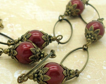 Necklace with Bordeaux Wine Red Swarovski Pearls and Brass Hoops