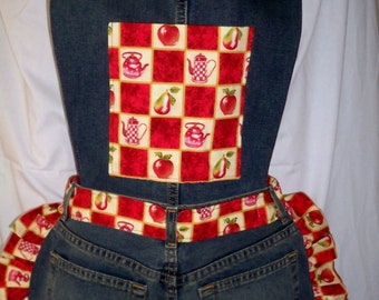 Recycled Jeans Apron w/Bib, Long ties, Red Apples and Pear Trim