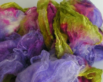 Mawata Silk Hankies ELEANOR Hand Painted Silk Hankies KNITPACK 42 grams Knit Mittens Spin Felt Fusion Crafts Purple Green