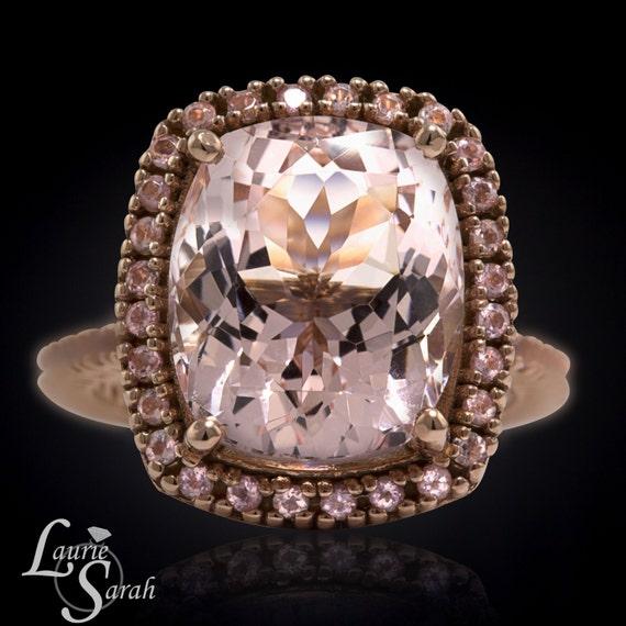 5 Carat Morganite Engagement Ring Peach Sapphire Halo Morganite Engagement R