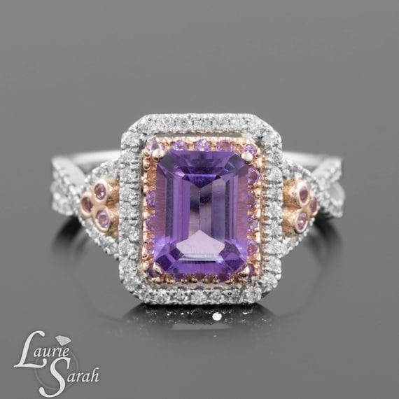 amethyst engagement ring emerald cut amethyst ring with