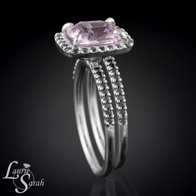 Pink Sapphire with Black Diamond Wedding Ring Set LS1938